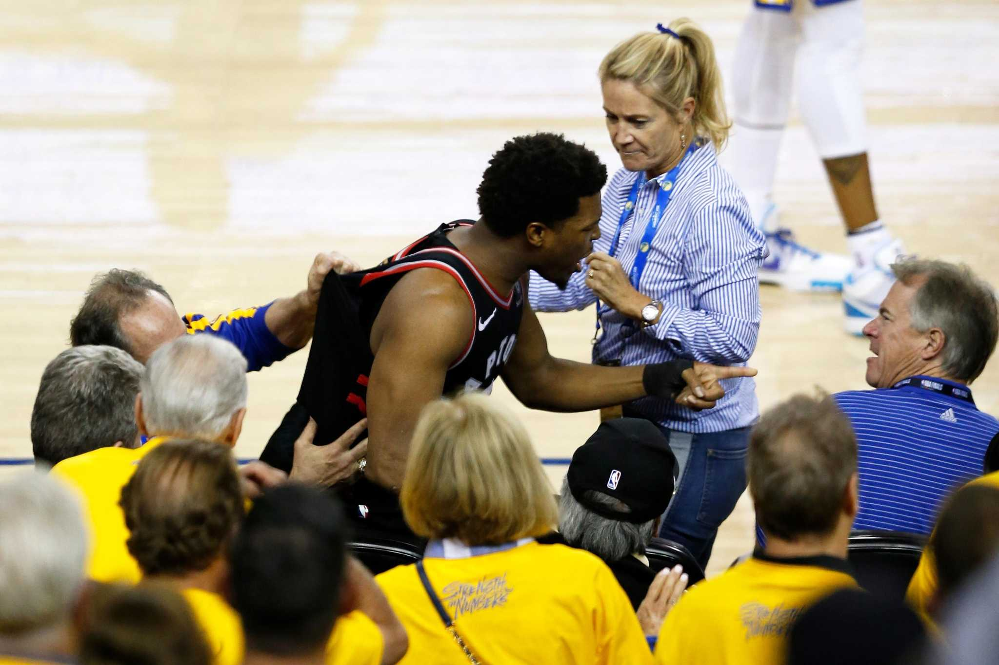 9773a390254 Warriors, NBA ban minority owner for a year for shoving Raptors' Kyle Lowry  - SFGate