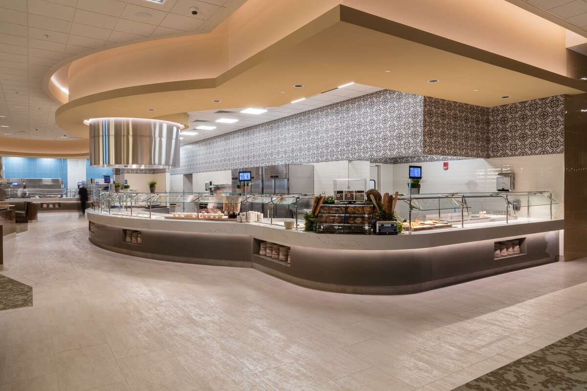 Curved lines of the bread and salad area of the Foxwoods buffet.