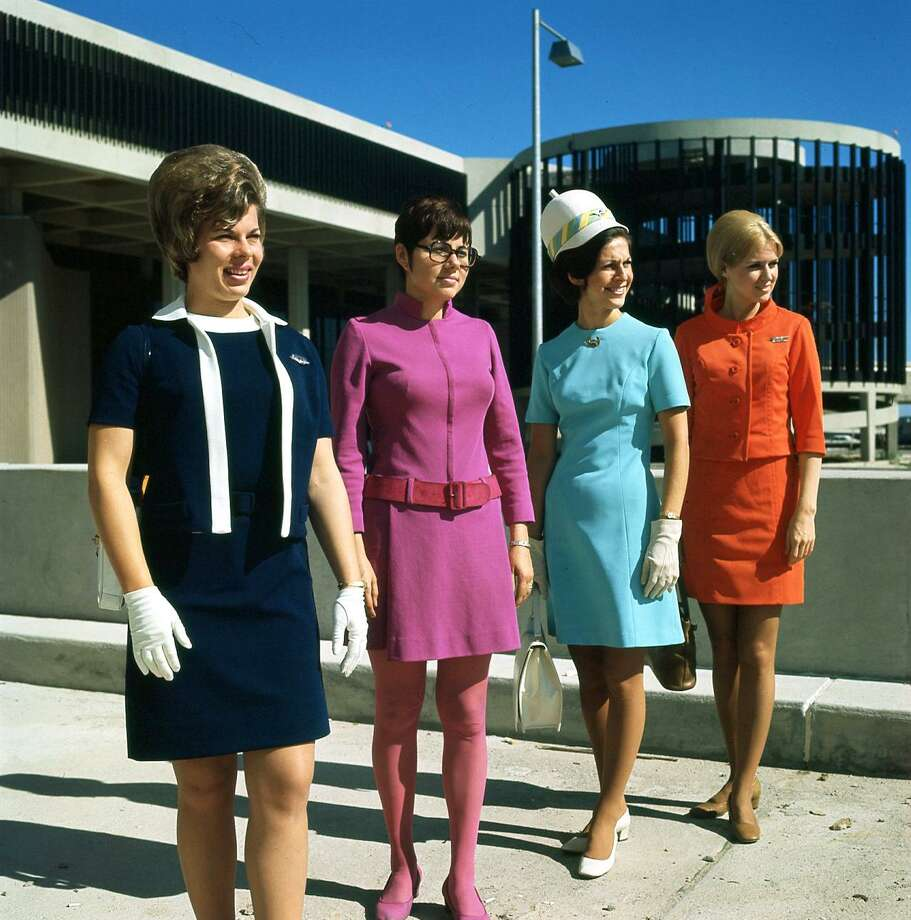 Flight attendants Nina Hammock of Eastern, Braniff's Ann Ruckstuhl, Delta's Gay Wilson and Texas International Edie Burrs at Houston Intercontinental Airport. May 1969. Photo: Dan Hardy, HP Staff / Houston Chronicle / Houston Chronicle