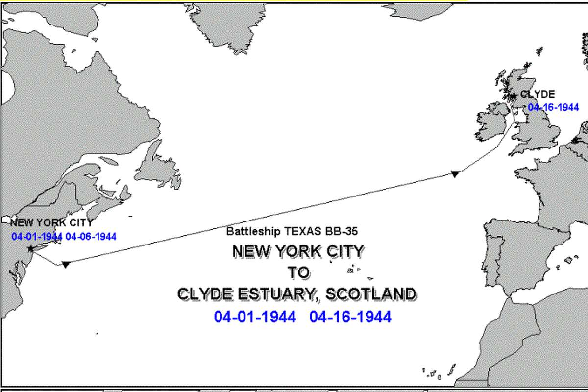 423,000 total miles sailed upon leaving Boston Navy Yard for Scotland on 1 April 1944. 16 April Arrives Greenock, Scotland completing a convoy escort across the Atlantic. TEXAS continues preparing for her second WWII combat action, the invasion of Normandy, France.