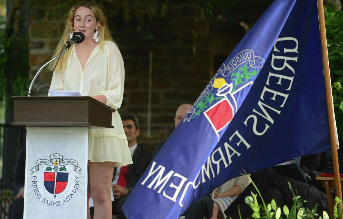 Class Salutatorian Lila Wells gives her address during The Greens Farms Academy 2019 Commencement Ceremonies on Thursday in Westport.