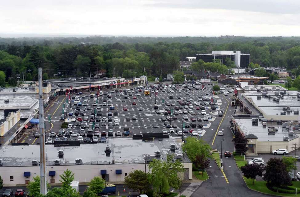 A view looking out over Stuyvesant Plaza from the 10th floor of the Executive Park Tower in the Stuyvesant Plaza Executive Park on Thursday, June 6, 2019, in Guilderland, N.Y. (Catherine Rafferty/Times Union)