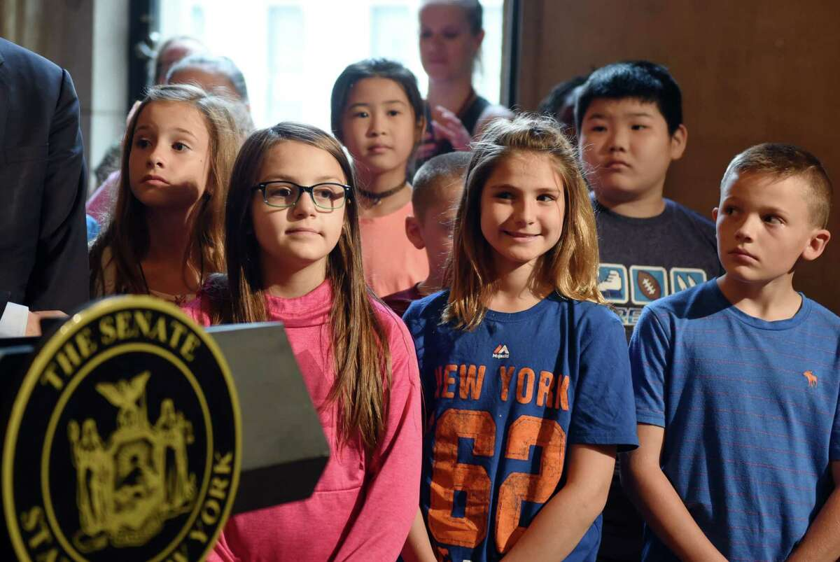 Students touring the Capitol are invited to be a part of a press conference on the measles vaccine for summer camp on Thursday, June 6, 2019 at the Capitol in Albany, NY. (Phoebe Sheehan/Times Union)