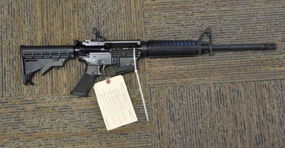 """An assault-style rifle seized from Heon """"Hank"""" Yoo's apartment."""