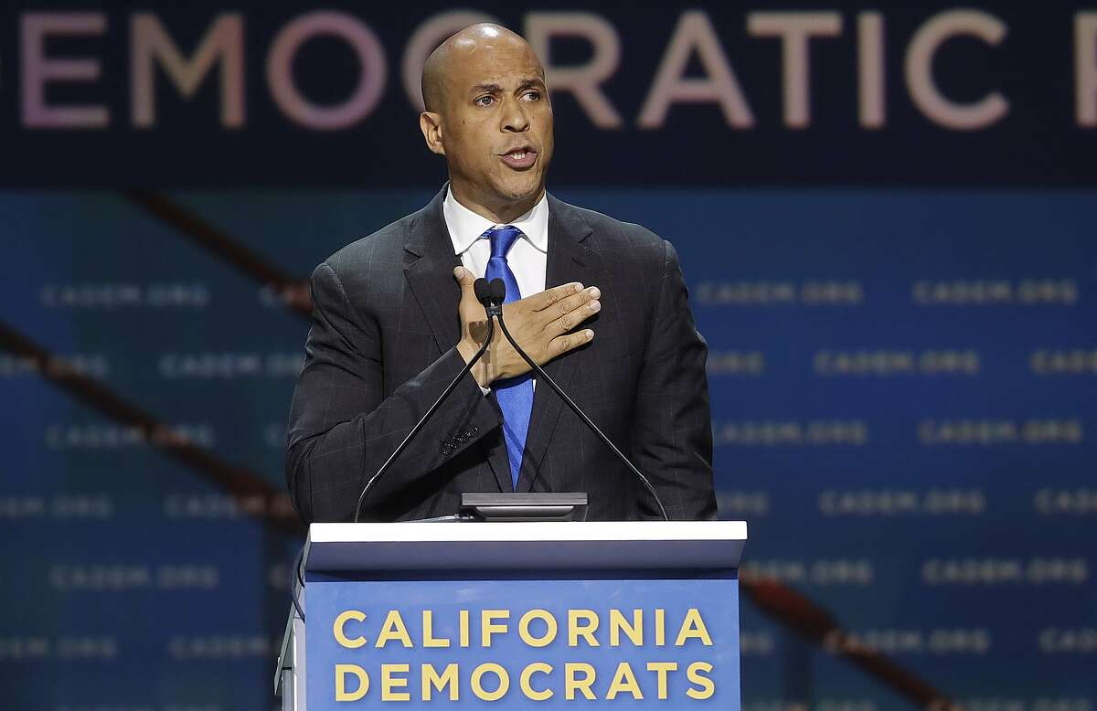 Democratic presidential candidate Sen. Cory Booker, of New Jersey, speaks during the 2019 California Democratic Party State Organizing Convention in San Francisco, Saturday, June 1, 2019. (AP Photo/Jeff Chiu)