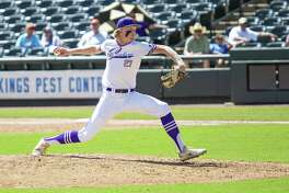 D'Hanis pitcher senior Alex Magers (27) throws the ball during their game against New Hope during their 1A UIL baseball state championship game at the Dell Diamond on June 6, 2019 in Round Rock, Texas.