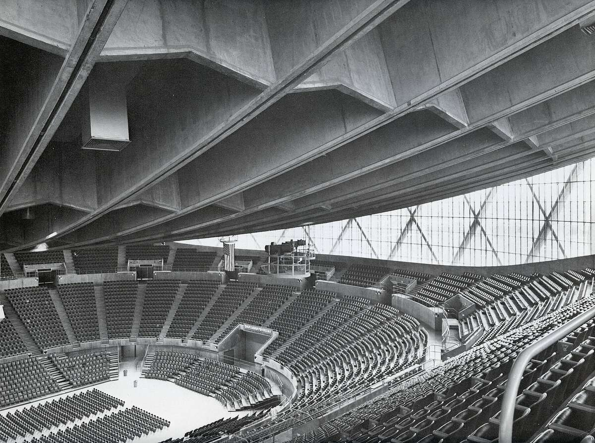 Oakland Arena as it looked before its debut in the fall of 1966. The building designed by Skidmore, Owings & Merrill has been modified extensively since then.