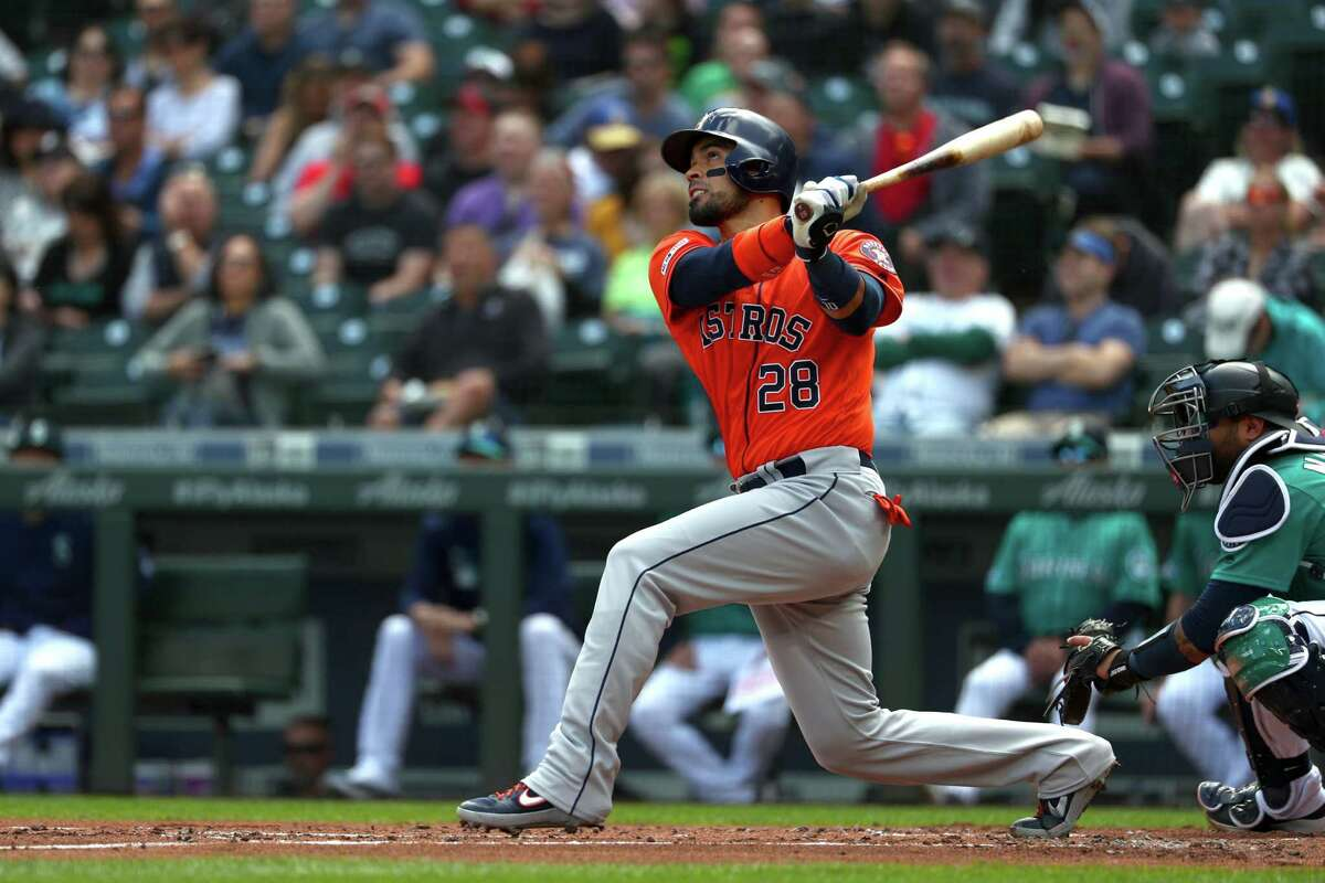SEATTLE, WASHINGTON - JUNE 06: Robinson Chirinos #28 of the Houston Astros watches his two-run home run against the Seattle Mariners in the first inning during their game at T-Mobile Park on June 06, 2019 in Seattle, Washington.