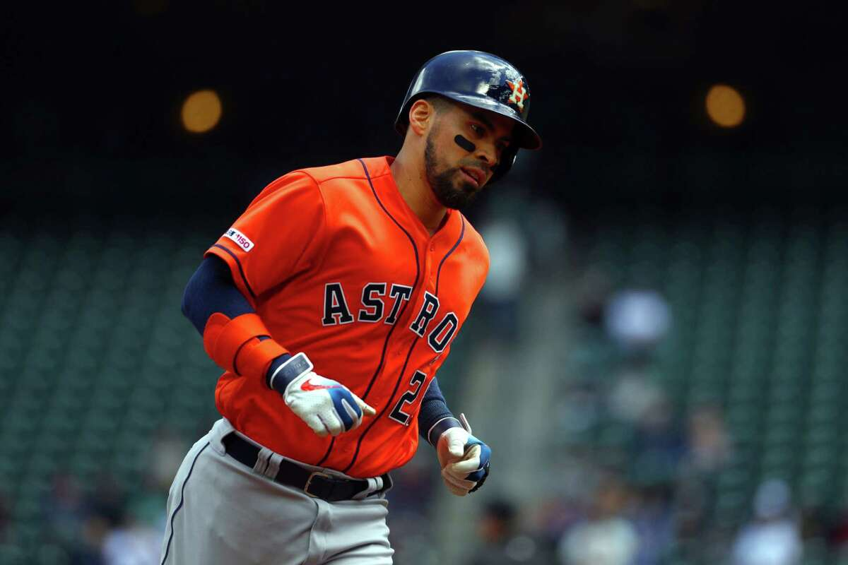 SEATTLE, WASHINGTON - JUNE 06: Robinson Chirinos #28 of the Houston Astros laps the bases after hitting a two-run home run against the Seattle Mariners in the first inning during their game at T-Mobile Park on June 06, 2019 in Seattle, Washington.