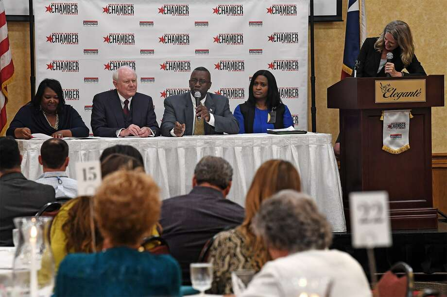 Lonnie Howard, president of Lamar Institute of Technology speaks as a panel member during the State of the Workforce Luncheon on Thursday. The event informed local business leaders on the supply and demand of Southeast Texas' workforce. From left, Marilyn Smith, Frank Newton, Donna Prudhomme are also seated at the panel table.    Photo taken Thursday, 6/6/19 Photo: Guiseppe Barranco/The Enterprise, Photo Editor / Guiseppe Barranco ©