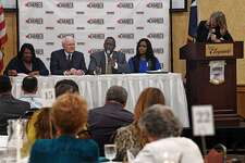 Lonnie Howard, president of Lamar Institute of Technology speaks as a panel member during the State of the Workforce Luncheon on Thursday. The event informed local business leaders on the supply and demand of Southeast Texas' workforce. From left, Marilyn Smith, Frank Newton, Donna Prudhomme are also seated at the panel table. Photo taken Thursday, 6/6/19