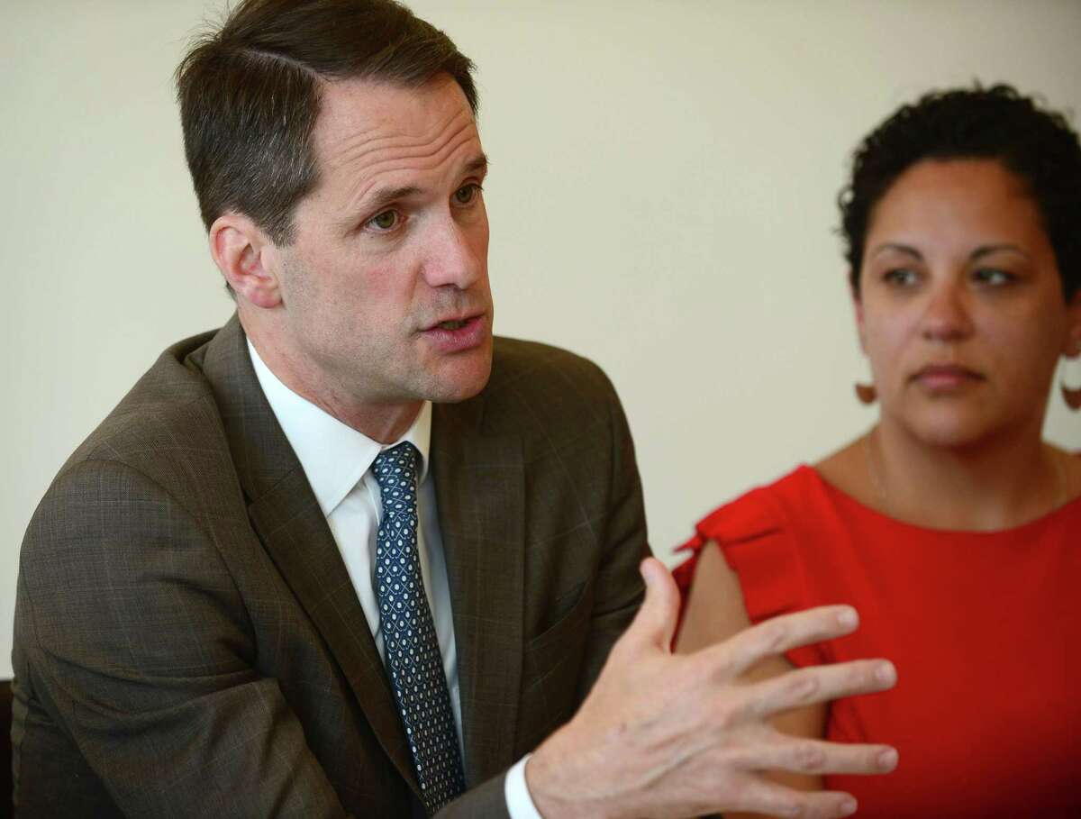US Congressman Jim Himes (D-4) speaks as US Senator Chris Murphy (D-CT) holds a roundtable discussion with Community Health Center CEO Maria Escalera and people with pre-existing conditions Thursday, June 6, 2019, at the Norwalk Community Health Care System in Norwalk, Conn. Senator Murphy has held similar roundtables over the past few weeks highlighting what it would mean for people in Connecticut if the Affordable Care Act was overturned in court and health care coverage for people with pre-existing condition were stripped away, as a part of his