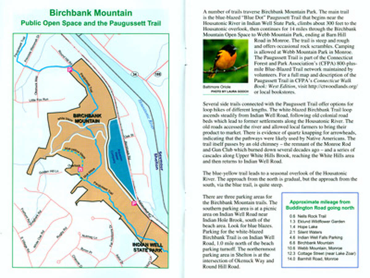 The guide's section on the Birchbank Trail in Shelton, which includes a map.