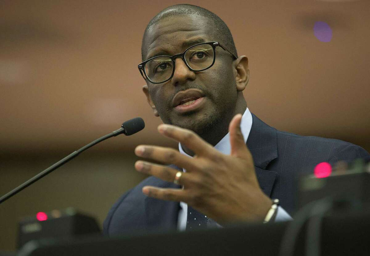 Andrew Gillum, Forward Florida Chair, speaks during The Elections Subcommittee field hearing on 'Voting Rights and Election Administration in Florida,' May 6, in Fort Lauderdale, Fl. Republican-led states seem to be suppressing voter rights to keep Republicans leading the polls.