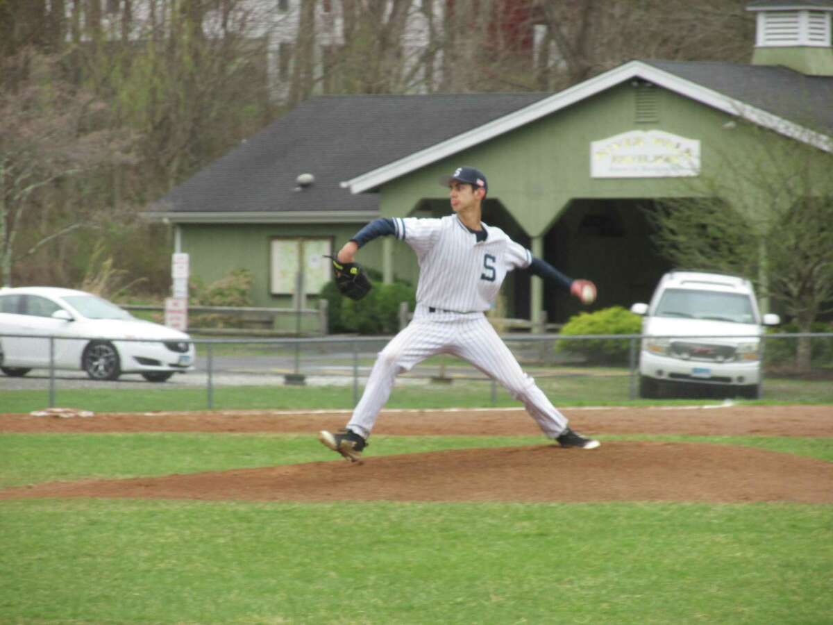 Shepaug starter Dom Perachi pitches against Northwestern earlier this season.