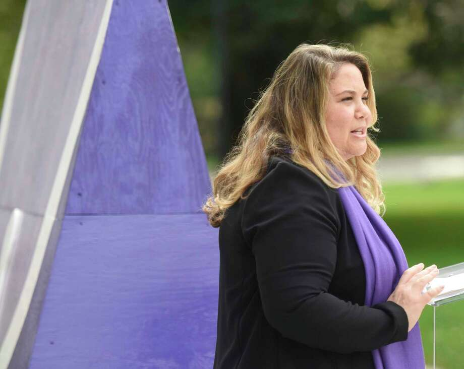 YWCA Greenwich Director of Domestic Abuse Services Meredith Gold speaks during the Domestic Violence Awareness and Prevention Month Kickoff at Town Hall in Greenwich, Conn. Tuesday, Oct. 2, 2018. Photo: Tyler Sizemore / Hearst Connecticut Media / Greenwich Time
