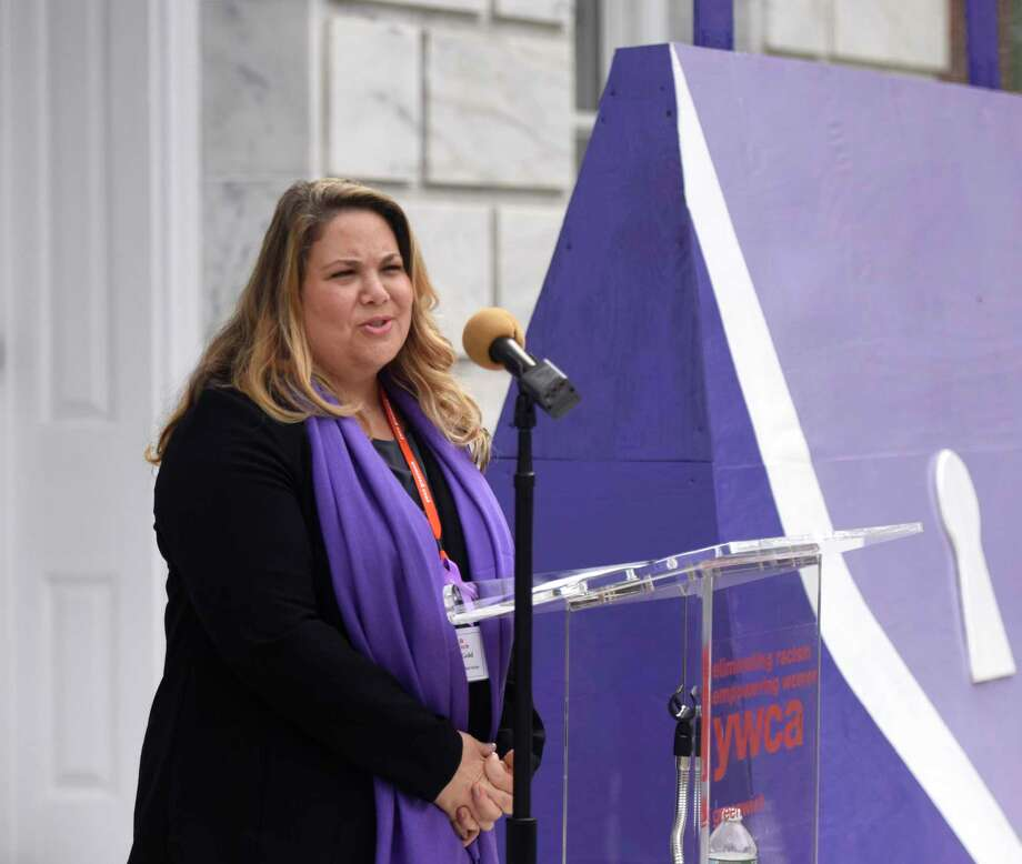 YWCA Greenwich Director of Domestic Abuse Services Meredith Gold speaks during the Domestic Violence Awareness and Prevention Month Kickoff at Town Hall in Greenwich, Conn. Tuesday, Oct. 2, 2018. Photo: File / Tyler Sizemore / Hearst Connecticut Media / Greenwich Time