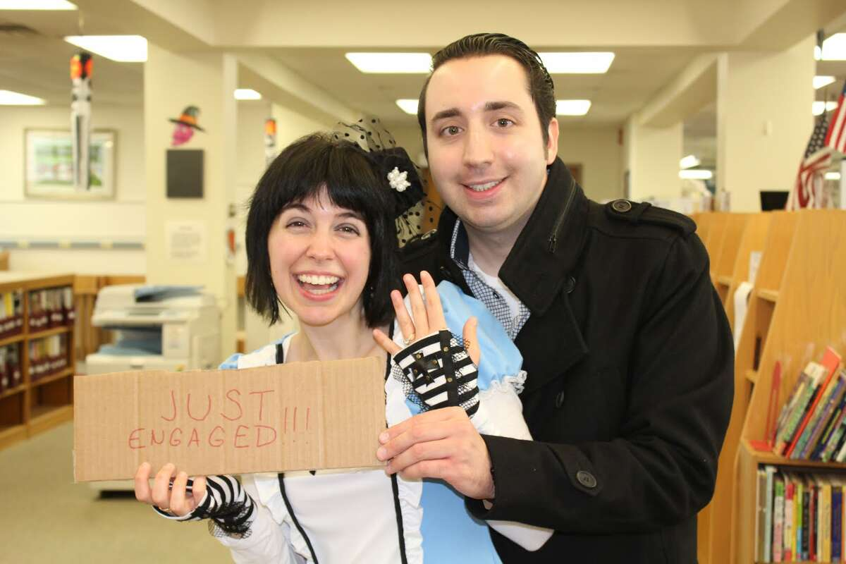Marissa Ciullo, Huntington Branch Librarian and her fiancee Joey Correia - Aaron Berkowitz photo