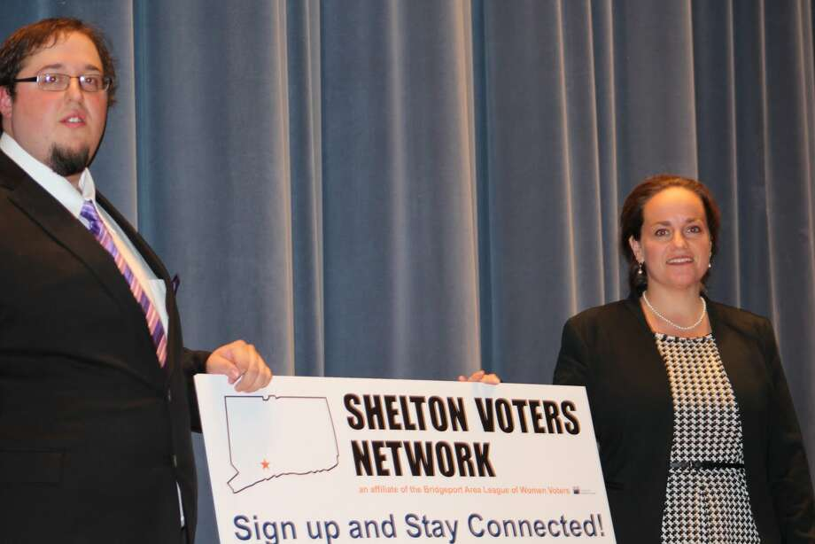 Write-in candidate Timothy Bristol along with Michele Bialek following the conclusion to the debate Monday Oct. 19