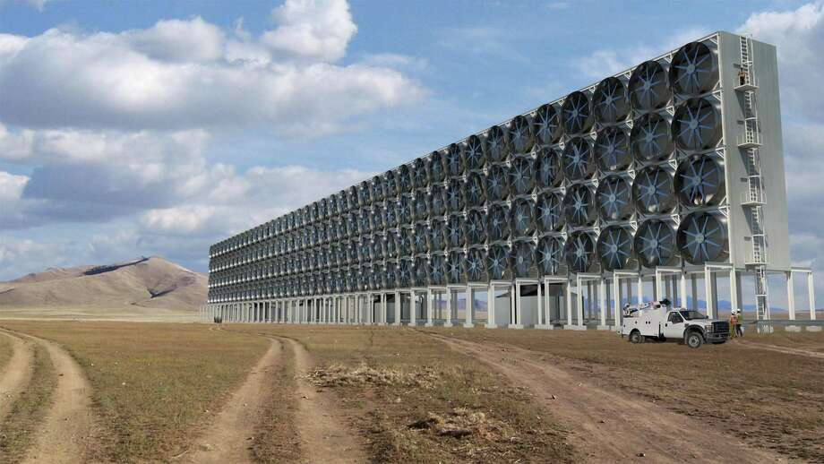 A rendering of the fans used to suck in air and carbon dioxide for one of Carbon Engineering's commercial direct air capture plants. Direct air capture can help solve both climate and economic challenges, the authors argue. Photo: Carbon Engineering