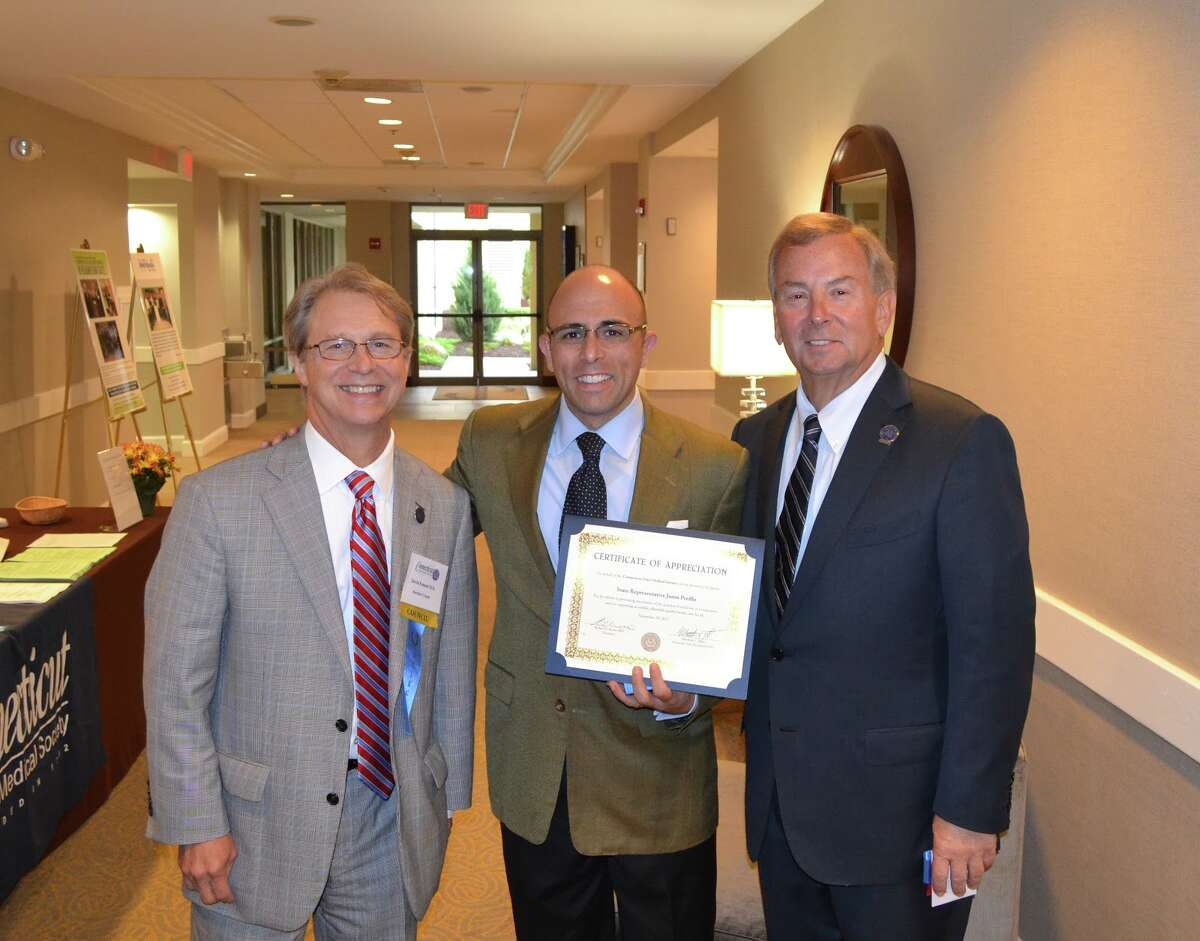 David Emmel, MD, Legislative Chair of the CSMS., State Rep. Jason Perillo, and Robert Russo, MD, from Bridgeport, the immediate past president of the CSMS.