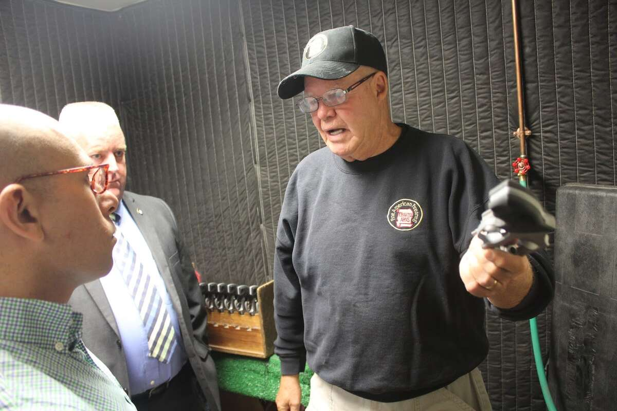 Jason Perillo and BenMcGorty toured through Charter Firearms in Shelton. The tour was led by the vice president of the company, Terry Rush. - Aaron Berkowitz photo