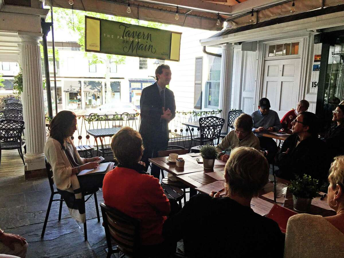 State Sen. Will Haskell, D-26th, speaks to ReSisters meeting in Westport about the status of bills at the state's Capitol June 3.