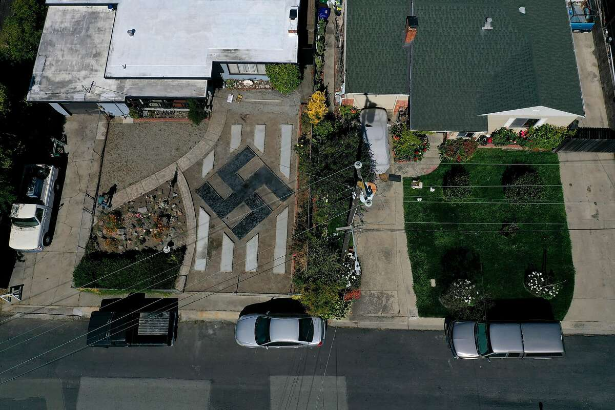 EL SOBRANTE, CALIFORNIA - JUNE 05: A design resembling a swastika is displayed in front of a home on June 05, 2019 in El Sobrante, California. People living in a San Francisco Bay Area suburb are upset that homeowner Steve Johnson has built a large design in his front yard that resembles a swastika. (Photo by Justin Sullivan/Getty Images) ***BESTPIX***
