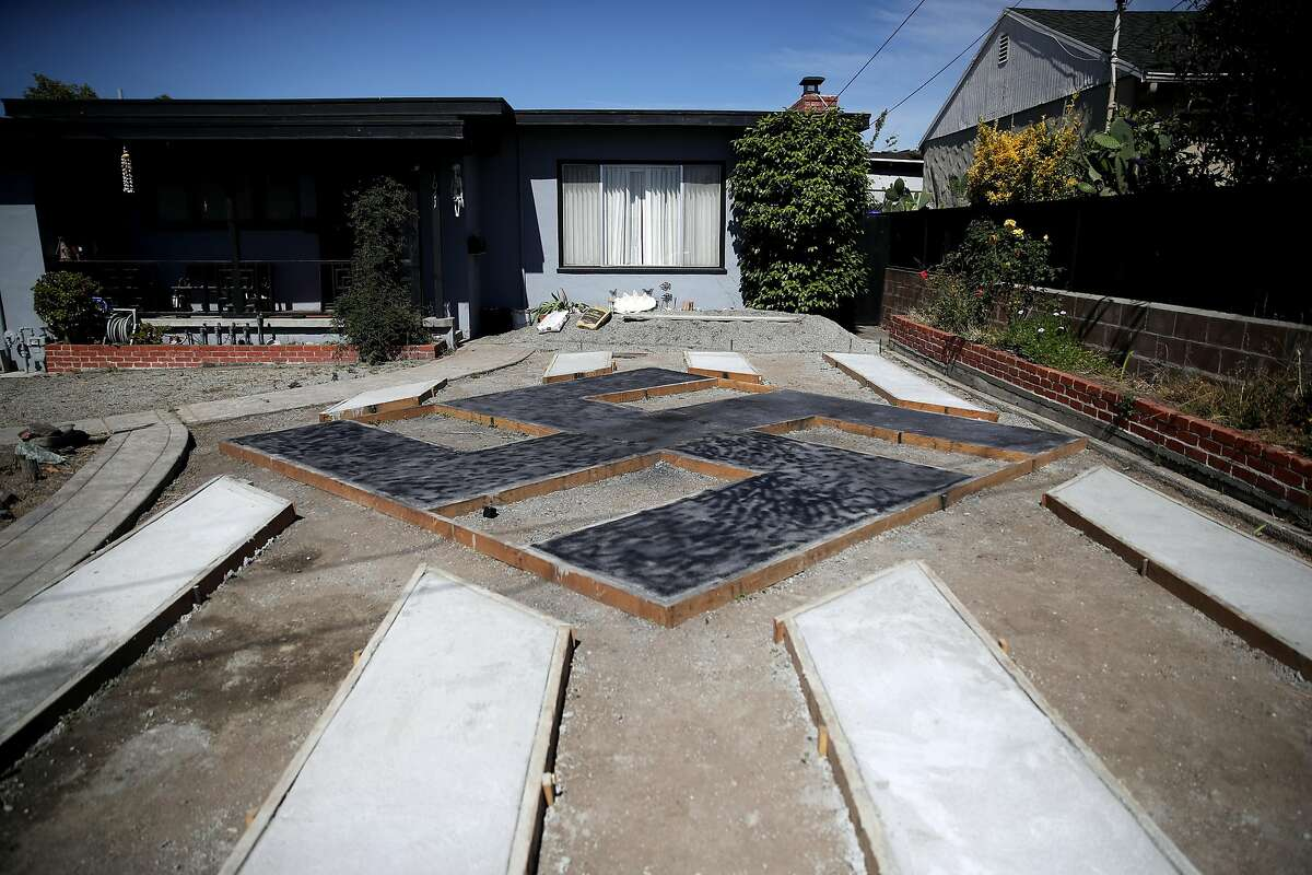 EL SOBRANTE, CALIFORNIA - JUNE 05: A design resembling a swastika is displayed in front of a home on June 05, 2019 in El Sobrante, California. People living in a San Francisco Bay Area suburb are upset that homeowner Steve Johnson has built a large design in his front yard that resembles a swastika. (Photo by Justin Sullivan/Getty Images)