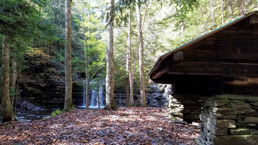 A view of Bozenkill Falls and a lean-to at the Christman Sanctuary in Duanesburg, N.Y., in October 2018.