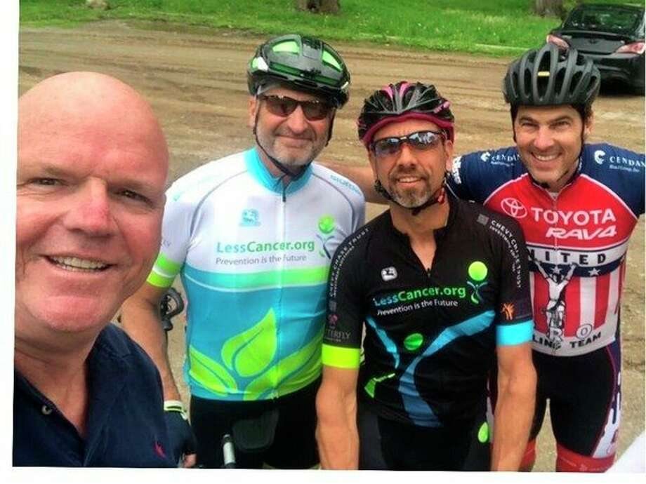 Less Cancer Founder Bill Couzens (left) is with Olympian Frankie Andreu (right), Dave Toutant and Gerry Schilling during a warm-up bike ride. (Photo provided)