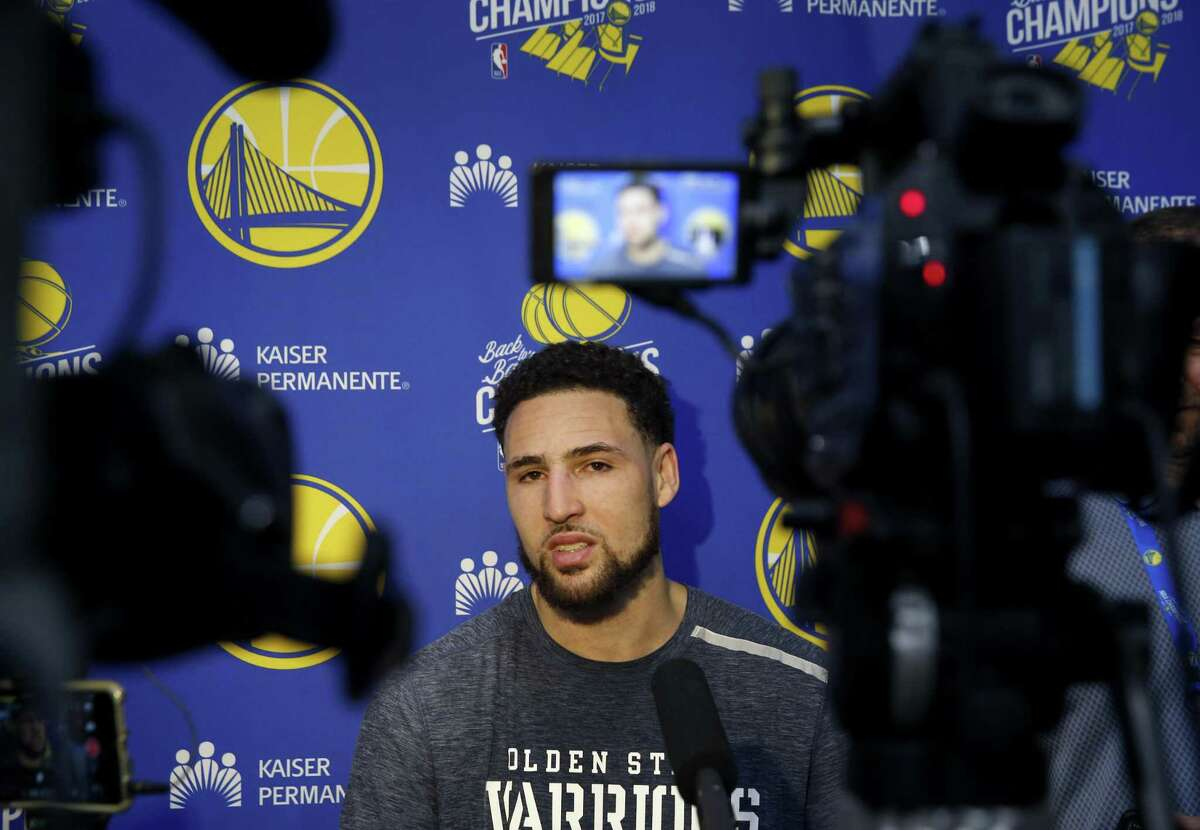 Klay Thompson meets with sportswriters after a Golden State Warriors practice session in Oakland, Calif. on Tuesday, April 23, 2019 before Game 5 of the first round against the Los Angeles Clippers Wednesday night.