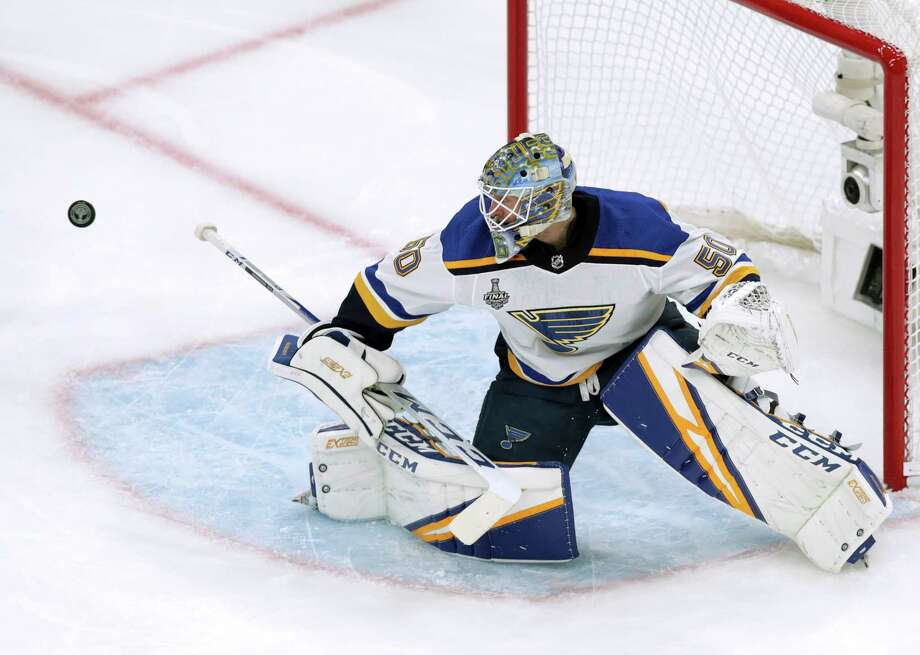 St. Louis Blues goaltender Jordan Binnington turns the puck away during the first period in Game 5 of the NHL hockey Stanley Cup Final against the Boston Bruins, Thursday, June 6, 2019, in Boston. Photo: Charles Krupa, AP / Copyright 2019 The Associated Press. All rights reserved