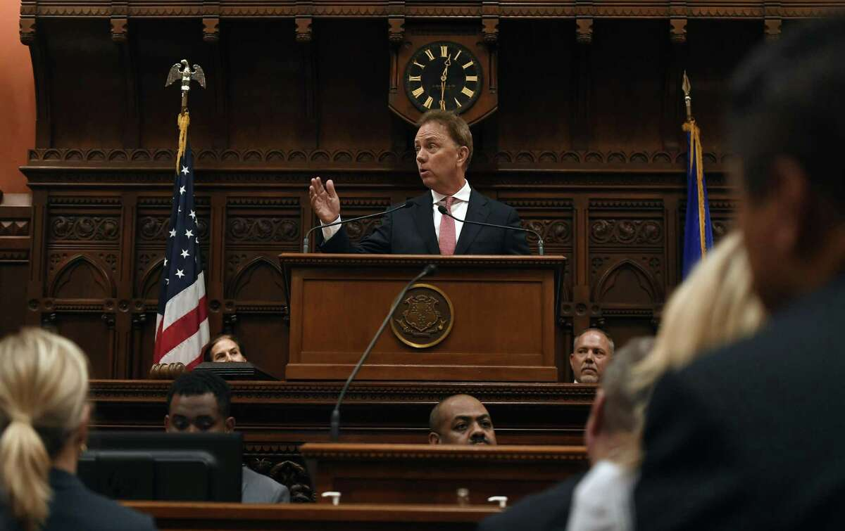 Gov. Ned Lamont addresses the House and the Senate at the State Capitol on Thursday.