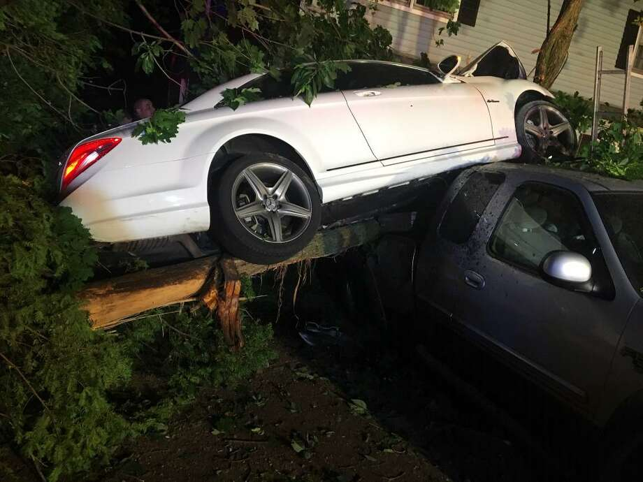 Two people were hurt after a car traveling at a high rate of speed went off the road on Winfield Street in Norwalk on Thursday, June 6, 2019. Photo: Norwalk Fire Department