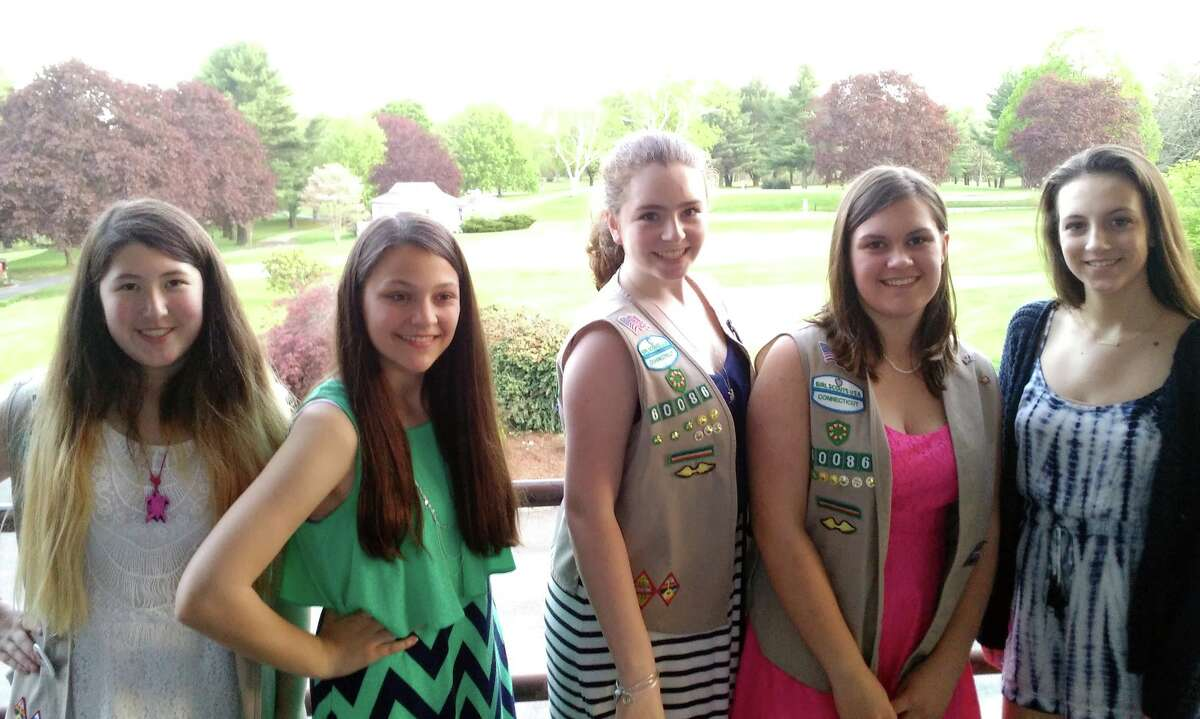 Olivia Wong, Julie Hoff, Michelle Marty, Kathryn Wilkinson, and Christina Marino celebrate achieving the Girl Scout Silver Award.
