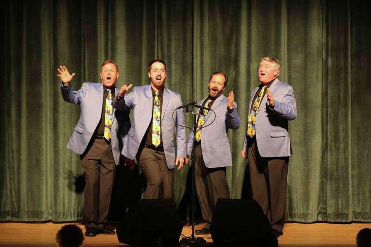 From left are: Victor Lembo, tenor, Beacon Falls; Jordan Kugler, lead, New Haven; Scott Poarch, bass, Newtown, and David Hunter, baritone, Shelton.