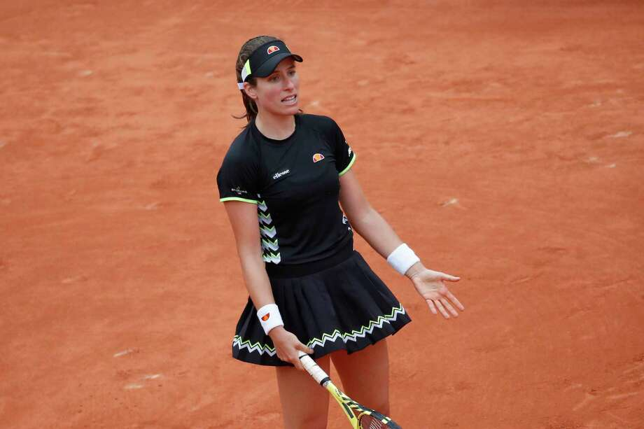 Britain's Johanna Konta reacts after missing a shot against Marketa Vondrousova of the Czech Republic during their semifinal match of the French Open tennis tournament at the Roland Garros stadium in Paris, Friday, June 7, 2019. Photo: Christophe Ena, AP / Copyright 2019 The Associated Press. All rights reserved
