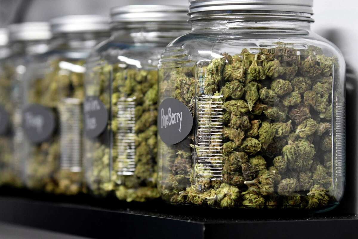 Hemp buds are displayed at Upstate CBD on Upper Union Street store on Tuesday, June 4, 2019, in Schenectady, N.Y. The shop offers CBD hemp buds, edibles, extractions, topicals and pet products. Store owner Donald Andrews hopes the business will give him a foothold should New York legalize recreational marijuana. (Will Waldron/Times Union)