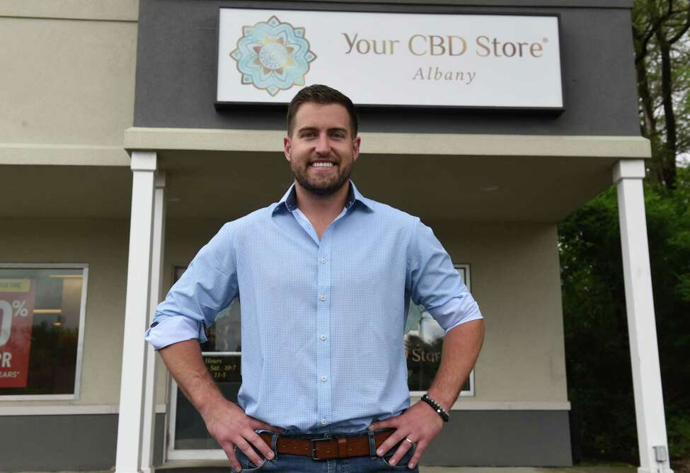 Christian Spenziero, owner of Your CBD Store, stands outside his storefront on Thursday, June 6, 2019, on Western Avenue in Guilderland, N.Y. (Will Waldron/Times Union)