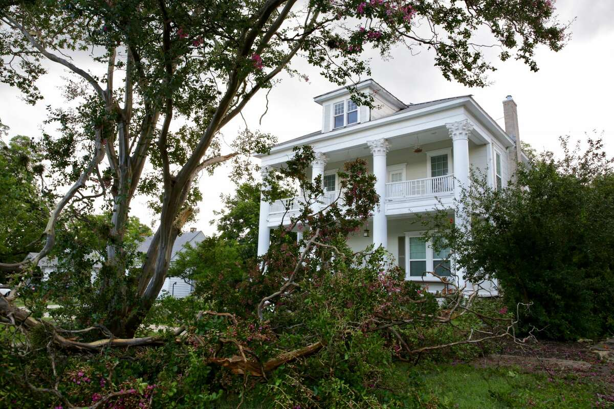 Broken branches from trees fell blocking a driveway in front this house on W Magnolia near Michigan on Thursday afternoon.