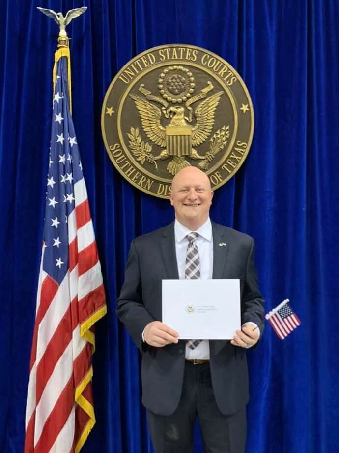 "League City business owner Mike Murphey, an Irish immigrant, is proud of his new U.S. citizenship. ""It is certainly the most welcoming country in the world out of any of the countries I've been to in my opinion,"" he said of the United States."