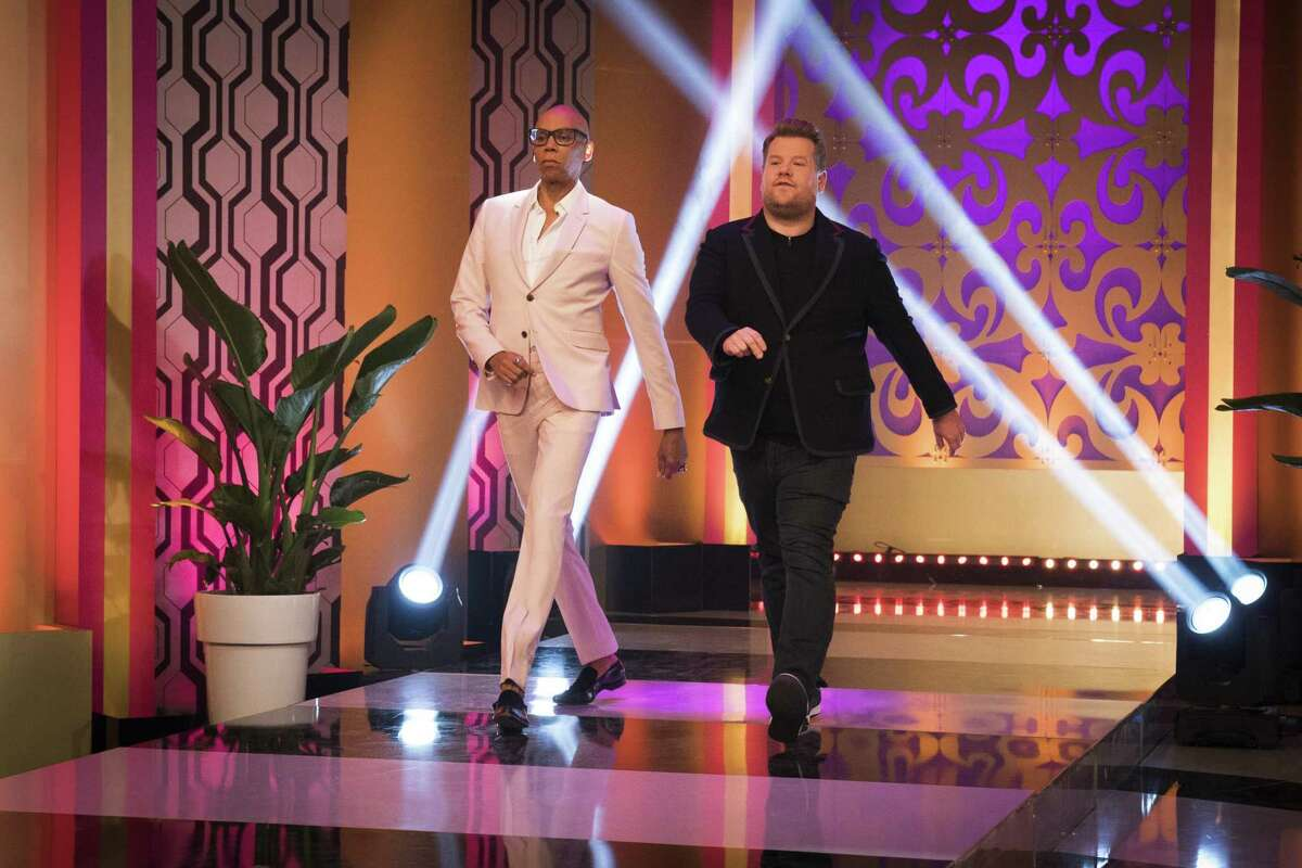 RuPaul and James Corden on the 'RuPaul' talk show.