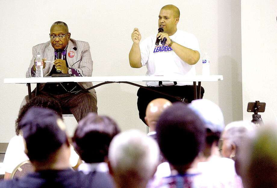 Port Arthur Mayor Derrick Freeman (right) and challenger Thurman Bartie respond to community questions during a town hall style forum at First Assembly of God church Thursday night. The Port Arthur mayor will be decided in the June 22nd runoff election. Photo taken Thursday, June 6, 2019 Kim Brent/The Enterprise Photo: Kim Brent / The Enterprise / BEN