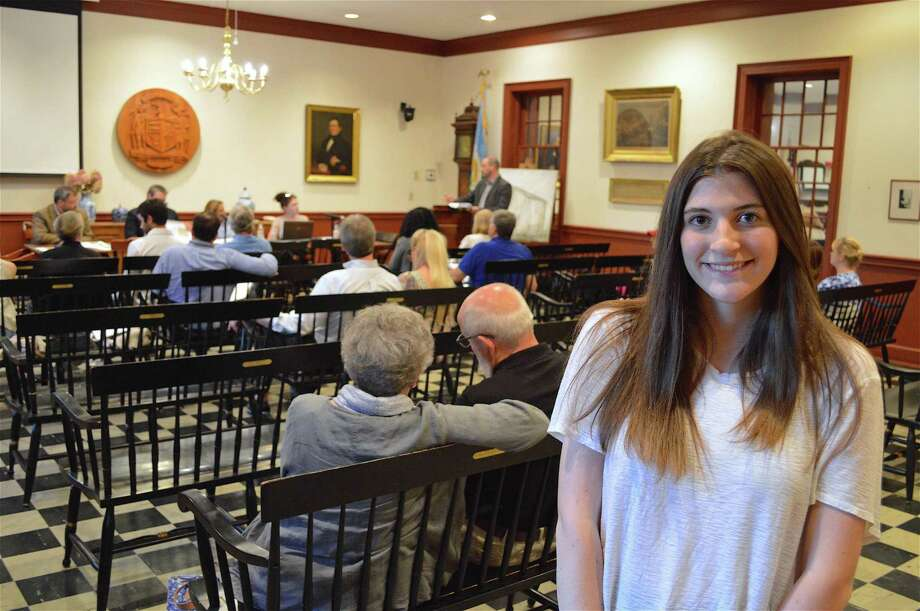Weston High School senior Gabby Fitzgerald, 18, who along with co-intern Vaughn Campos, discovered that Weston was officially founded on Oct. 11, 1787 -- an official date that had been lost in time. Photo: Jarret Liotta / For Hearst Connecticut Media / Westport News Freelance