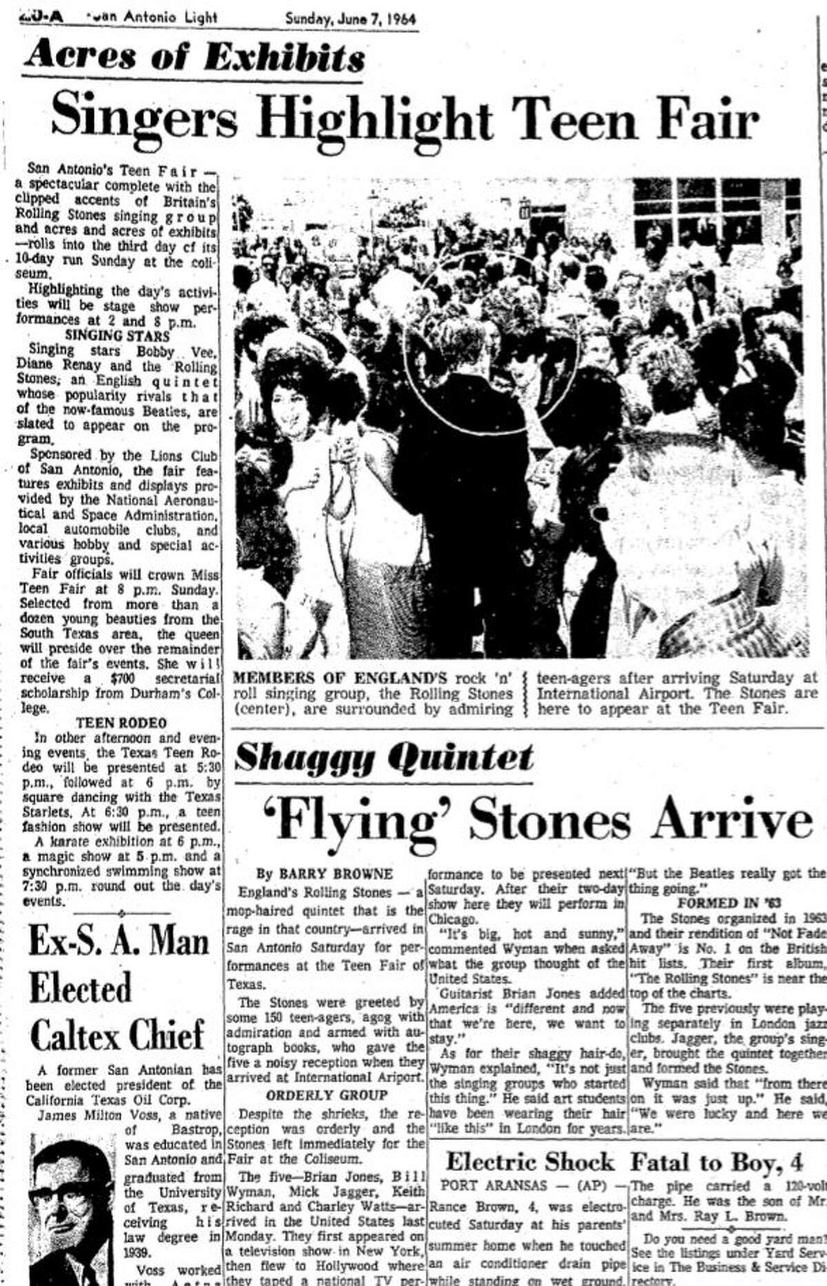 A San Antonio Light writer wrote about the Rolling Stones arriving at the San Antonio airport.