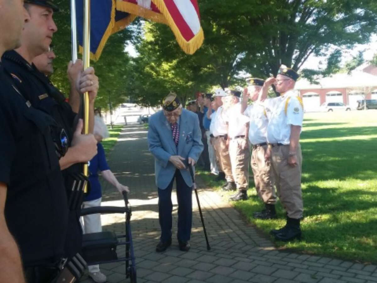 Al Sabetta is saluted during a recent bench dedication, organized by Sutter-Terlizzi American Legion Post 16.