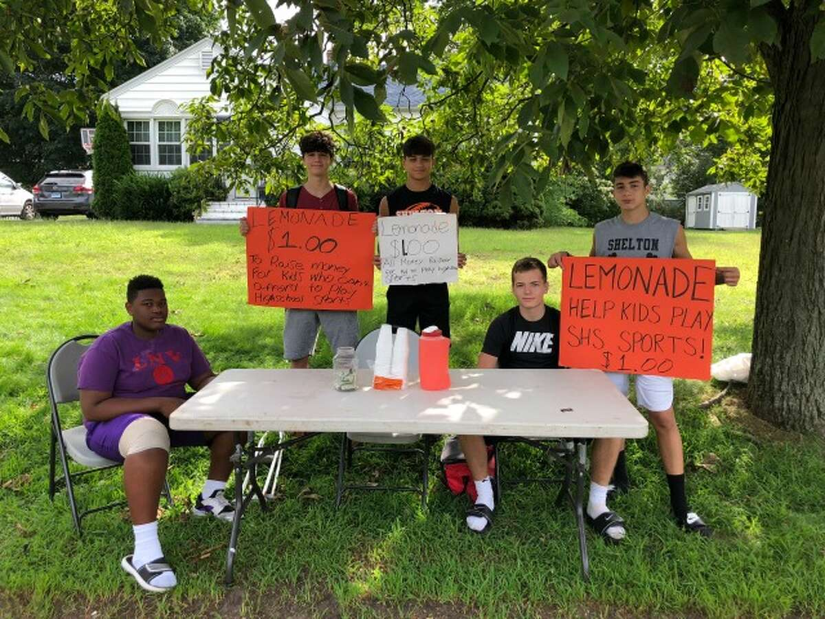 Faison Teele, Shane Santiago, Jacob Villalobos, Matthew Lockavitch and Tyler Rich at the stand on Waverly Road. - submitted photo
