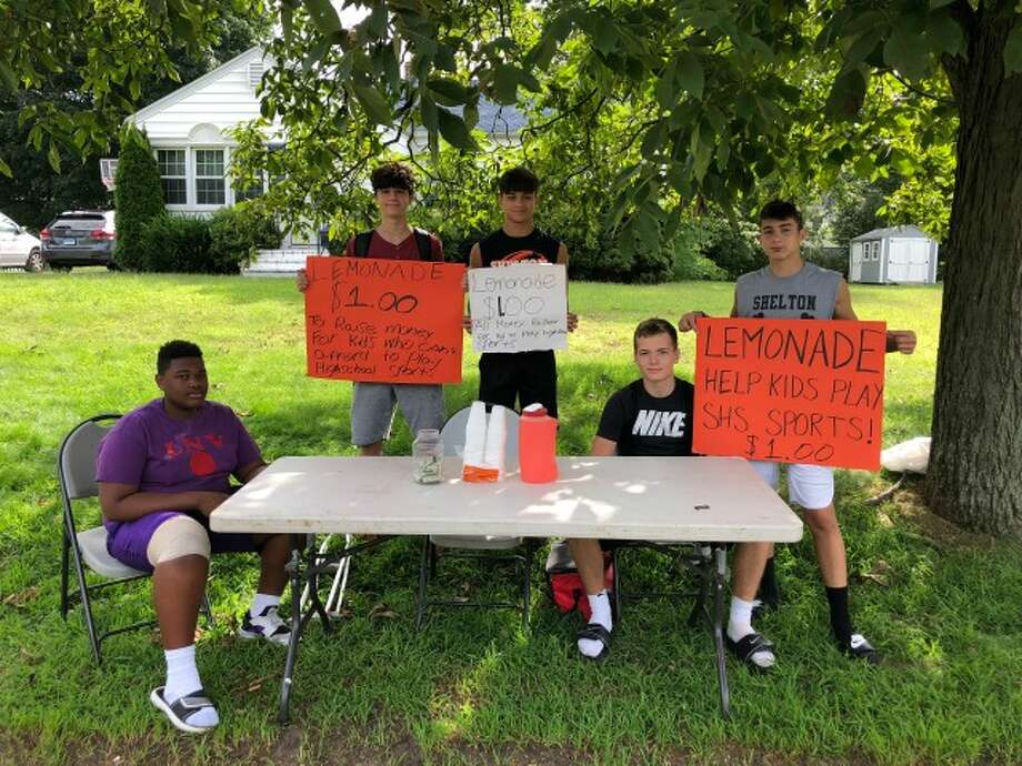 Faison Teele, Shane Santiago, Jacob Villalobos, Matthew Lockavitch and Tyler Rich at the stand on Waverly Road. — submitted photo