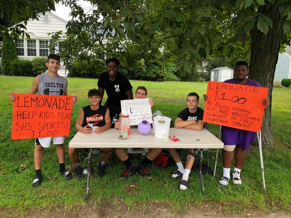 Tyler Rich, Jacob Villalobos, Jahmari Smith, Michael Camiglio, Matthew Lockavitch, Faison Teele at the lemonade stand Friday. - contributed photo